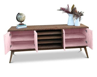 Flash Sale! Eco Recycled Solid Timber Modern Mid Century Retro Rustic Wooden TV Stand Entertainment Media Unit With Shelves in Blush Pink
