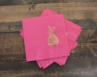 25 or 50 Pineapple Cocktail/Beverage Napkins