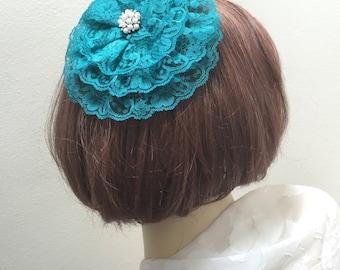 Teal Lace Kippah, Lace Teal Yarmulke, Teal Head Covering, Turquoise Kippot