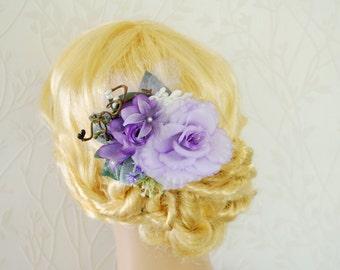 Purple bridal hairpiece, Bridal headpiece, Purple wedding hair accessories, Wedding hair flower, Lilac hairpiece, Purple wedding, Prom hair