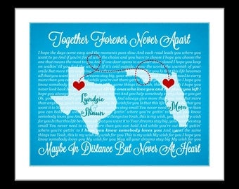 Long distance mom gift, long distance family, long distance personalized gift, song lyric art, unique birthday gift, long distance map