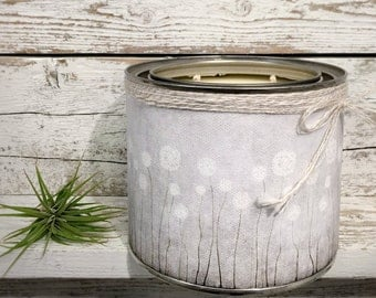 SOY CANDLE - All Natural Candle In Tin - Wrapped In Our DANDELION Puff Canvas Art - Available in 8oz and 16oz sizes