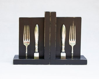 Bookends - Vintage Silver Plated Silverware Shabby Chic Distressed Black Wood - Perfect for Cookbooks