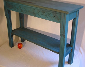 Entry Table from reclaimed antique wood, old blue paint