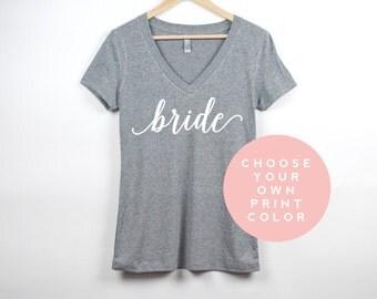 Bride Shirt | Custom V Neck Bachelorette Party Shirts | Personalized Bridal Shower Shirts | Wifey Shirt Custom Color Bride Gift | Bridesmaid