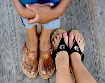 Monogram Natalie Sandals in Brown or Black - Stylish Personalized Leather-Like Flip Flop Sandals