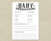 Baby Predictions Card - Printable Digital Download, Instant Download - Baby Shower Activity, Advice and wishes