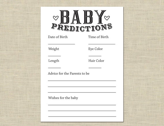 This is a graphic of Gratifying Baby Prediction Cards Free Printable