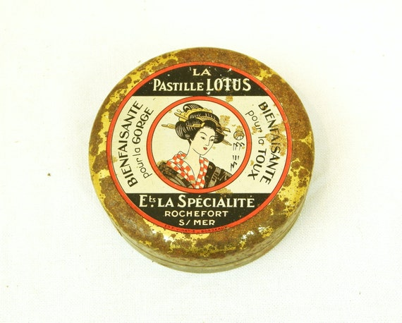"""Antique French Metal Tin for """"La Pastille Lotus"""" Medical Candy / French Decor / Vintage Retro Gift / Apothecary / Medical / Box / Japan"""