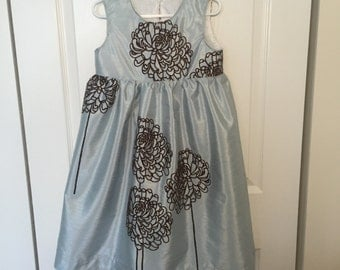 Girls Graduation Dress Wedding Dress Party Dress Pale Blue Sleeveless Dress size 6