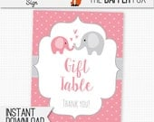 Gift Table Sign Baby Shower Pink Elephant - printable digital - Polka Dot Baby Girl Pink and Grey Elephant baby shower decor 8x10