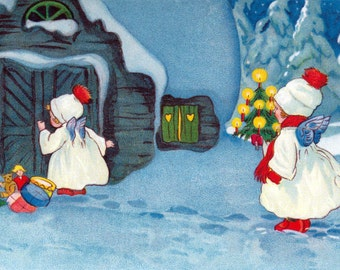 Christmas Angel Fabric Block | Snow Angels Bring Tree and Presents
