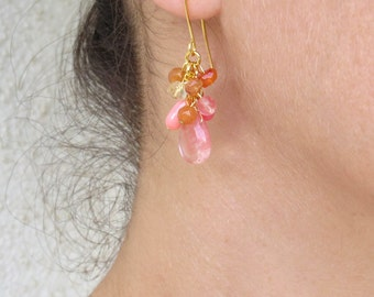 Cherry quartz cluster earrings, Multi color earrings, Pink drop earrings