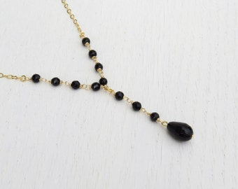 Y shaped necklace, Gold lariat necklace, Black onyx necklace