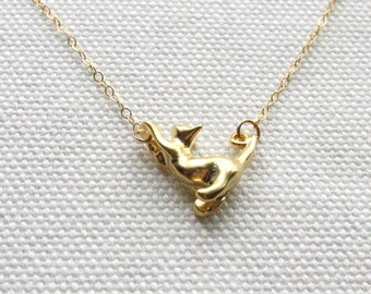Gold Cat Charm Necklace Cute Kitty Necklace Quirky Everyday Jewelry Dainty Minimal Animal