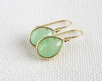 Mint Green Earrings, Gold Teardrop Dainty Modern Earrings, Glass Stone, Minimalism, Bridal, Pastel