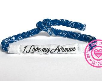 I love my airman bracelet, military wife bracelet, air force bracelet, air force wife girlfriend mom bracelet, usaf bracelet gift