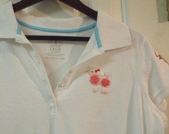 Poodle White Collared Top Size XL Izod Ladies Cotton