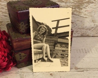 1940s Vintage Photograph, Real Photo Postcard, Pretty Girl, Midriff and Wedges, 1947, Germany, Vintage Fashion, 1940s Pinup