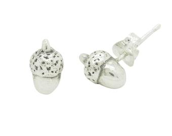 Silver Acorn Studs