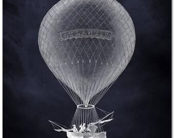 Art Print of Fantastic Hot Air Balloon with Propellers, The Atlantic Airship, Hot Air Balloon Poster, Dirigible Print, Steampunk Balloon Art