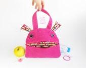 Snack bag monster zippered tote | Zé Snack-glutton hand bag | funny lunch bag | toddler tote bag | kids handbag | toy storage | pink candy
