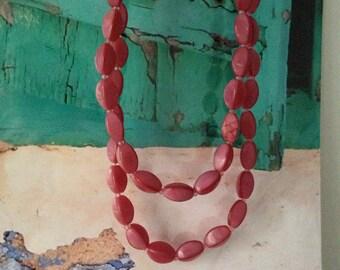 Dark pink beaded long necklace