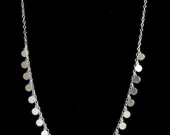 Coin Drop Necklace, Silver Disc Necklace, Sterling Silver Statement Necklace, Long Necklace