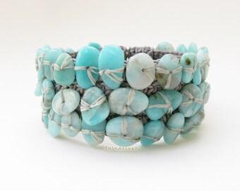 Blue stone bangle on gray wax cord, blue green bracelet, unique, blue green beaded bangle