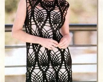 Crochet Black Beach Summer Tunic Dress Vest Tank To Order FREE SHIPPING