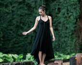 Fern High-Low Maxi Dress / Black / LBD / Twist Strap / Hand Beaded / Midi Dress / Cutout / Sexy Back / Fall / Holiday Dress / Resort