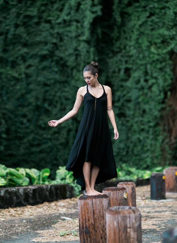 Fern Black High-Low Maxi Dress