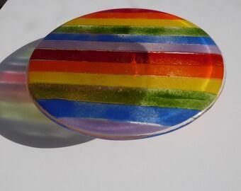 Stripy Rainbow Fused Glass Cakestand