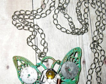 Steampunk, Cyberpunk, Filigree Brass Butterfly Pendant, Necklace.