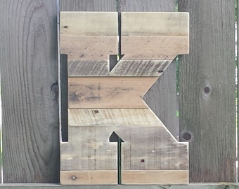 "Large Rustic Wood Letter, Rustic Home Decor, Reclaimed Wood Letter, Rustic Wedding Decor, Personalized pallet Letters, 16"" wood letters"