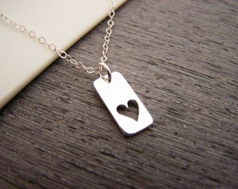Tiny Rectangle Heart Tag - Sterling Silver Necklace - Simple Jewelry - Everyday Necklace / Gift for Her