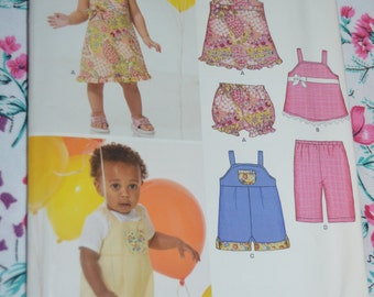 New Look 6818   Infants Summer Dress Top Shortalls and Panties Sewing Pattern - UNCUT- Size NB - L