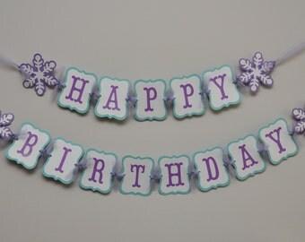 Snowflake Birthday Banner, Winter Onederland, Winter Wonderland Party