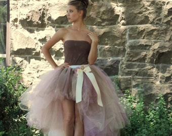 Adult tutu high low tutu skirt wedding bridal tutu prom tutu skirt senior portraits trending now tutu with train rustic wedding fashion tutu