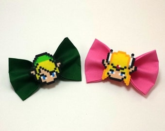 Hair Bows or Bow Ties  - Legend of Zelda Hair Bows - Legend of Zelda Bow Ties - Link Hair Bow - Zelda Hair Bow - 8 Bit Hair Bow - 8 Bit Bow