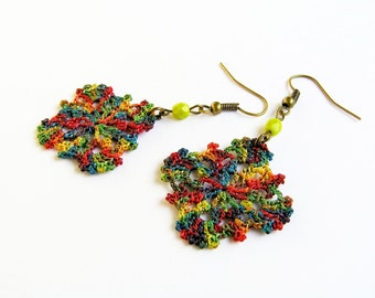 SQUARE Earrings, Crochet Jewelry, Multicolored