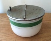 Vintage Medco Sugar Bowl with Metal Lid and Green Stripes
