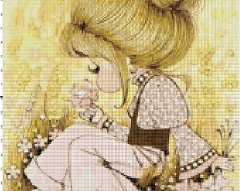Vintage 1960's Girl with Ponytail in Pink Flower Field PDF Cross-Stitch Pattern