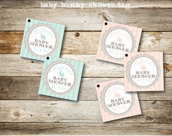 Shower Favor Tag, Gift Tags, Bunny Tag, Baby Shower Tag , Favor Tags, Bunny Tags