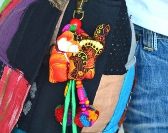 Beaded Hmong Hill Tribe Bags Keychain Long Charm Dangle with Batik Elephant Decoration Cotton Pom Poms Hang BHK25