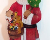 SANTA CLAUS Christmas Stocking Hanger with Yellow Teddy Bear
