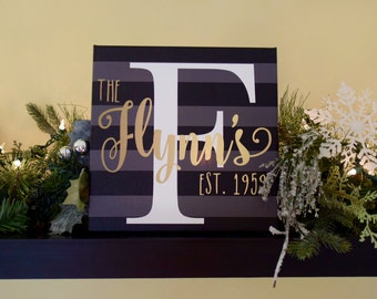 Last Name Sign - Personalized Family Name Sign - Family Sign - Anniversary Gift - Canvas