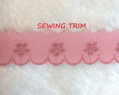 2 YARDS, Country PINK Cotton, Flat Sewing Edging Trim, Embroidered Eyelet Flowers, Scallops, 1 Inch Wide, L218