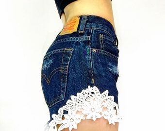Levi High Waisted Shorts with Lace Patch - Distressed - Sizes 0 2 4 6 8 10 12 14 16 18 20 Avail.