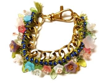 floral woven chain bracelet